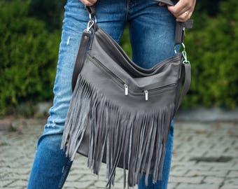 Hobo Bag, Leather Fringe Bag, Bag with Tassels, Large Cross Body Bag, Leather Handbag, Purse, Large Tote, Gray Leather Hobo Bag Boho