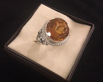 Round Citrine and Fine Silver Ring
