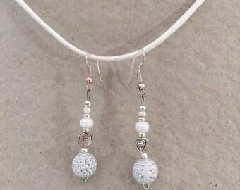 Earrings dangling white fantasy