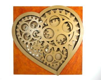 "Kinetic sculpture Heart  ""Battito Cartoniaco"""