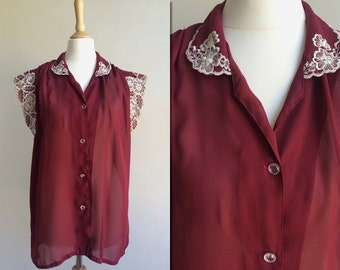 1970s Oxblood Sheer Blouse with Embroidered Flower Detail * Size Large