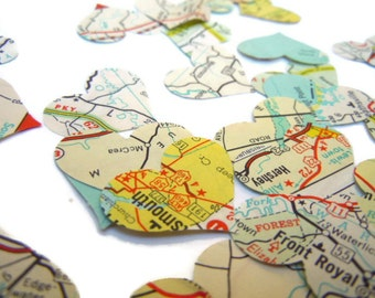 500 Piece Map Heart Confetti -  Vintage Map - Paper Hearts -  Wedding Table Decor - Party Confetti - Travel Theme