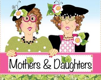 """AP6.40 - Moms & Daughters - 6"""" Fabric Art Panel"""