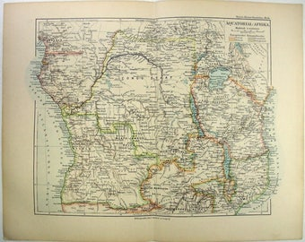 Original 1892 Map of Equatorial Africa During the Colonial Era by Meyers. Antique