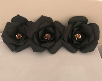 Black and Rose Gold Paper Flowers