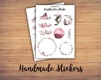 FREE SHIPPING! 2-pack of watercolor floral arrangement and wreath bullet journal and planner STICKERS