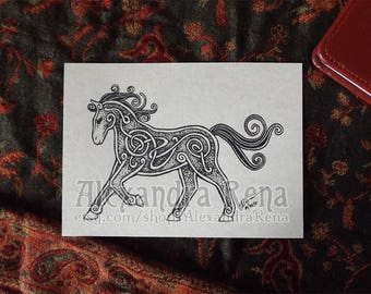 Celtic Knotwork Horse Art Print - 5x7