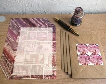 Writing Paper Set | Postage Stamp Writing Set, Penpal Letter Paper Set, Envelopes Seals | Dusk Pink Purple Brown | Vintage Postal Travel Art