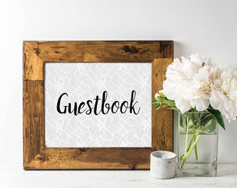 Guestbook Sign - Boho Wedding Sign - Boho Chic - Cottage Chic Wedding - Lace - Calligraphy Sign - Bridal Shower Sign - Rustic Sign - Printed