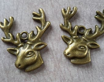 Deer bronze charm pendant animal holiday Christmas, bronze, 25 x 22 mm