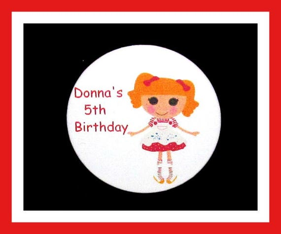 Birthday Party Favor Personalized Button, LalaloopsyPin Favor,School Favor,Kid Party Favor,Boy Birthday,Girl BirthdayPin,Favor Tag Set of 10