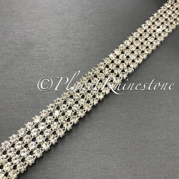 Silver Four Row Crystal Trim #T-5