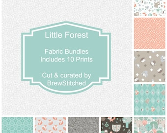 NEW! - Woodland Fabric by the Yard - Fat Quarter Bundle - Fabric Bundle - Quilt Fabric - 3 Wishes - Little Forest