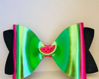 X-Large Watermelon Bow from Black Fine Glitter Fabric and Green and Raspberry Pink Foil Faux Leather Fabric for Girls, Toddlers, Women