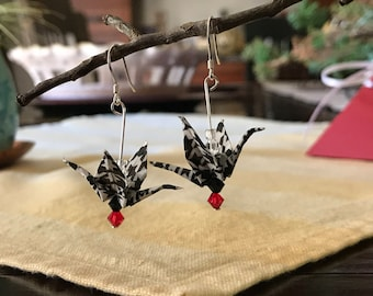 Origami crane earrings in black and white houndstooth pattern