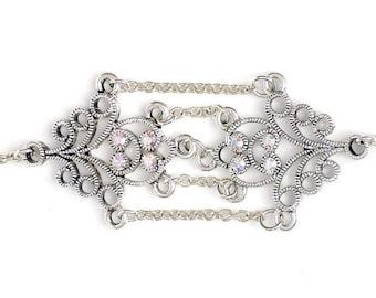 Custom Sized Bracelet Swarovsk Crystal  Elements And Silver Chain