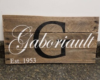 Last Name Sign, Family Name Sign, Pallet Wood Sign, Personalized Wood Sign, Custom Name Sign, Established  Sign, Wedding Gift,