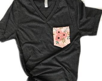 Women's Tshirt, Women's Pocket Tshirt, Pink Peony, Floral Pocket