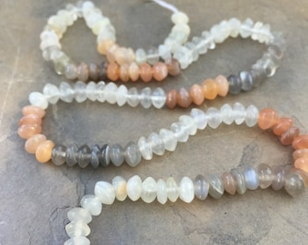 Multi Toned Moonstone Rondells, 4,5 to 5mm approx. 15 inches