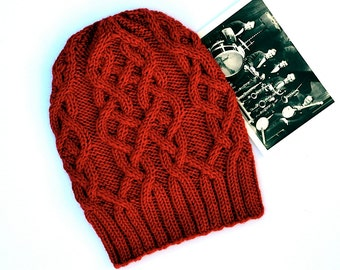 INSTANT DOWNLOAD PDF Knitting Pattern for Women's Aran Hat with Cables Slouchy Beanie Unisex Malle