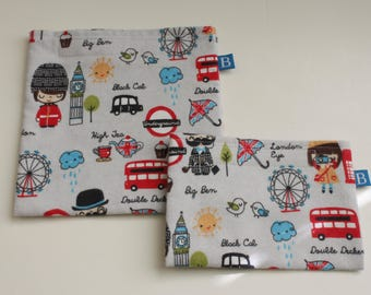 Reuseable Eco-Friendly Set of Snack and Sandwich Bags in London Scene Fabric