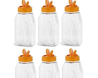 Nakpunar 6 pc 16 oz Plastic Spice Jars with Orange Lid and Freshness Seals