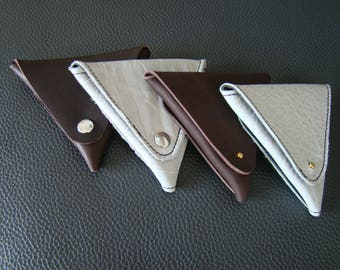 Rriginal triangle leather: 2 grey and chocolate designs