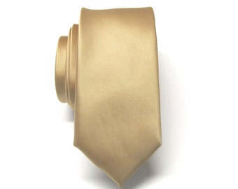 Mens Tie Dusty Gold Skinny Necktie With *FREE* Matching Pocket Square Set