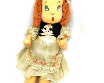 Vintage Handmade Doll, Heidi, Swiss, Scandinavian, Paper Mache, Composition, Rag Doll, c1940
