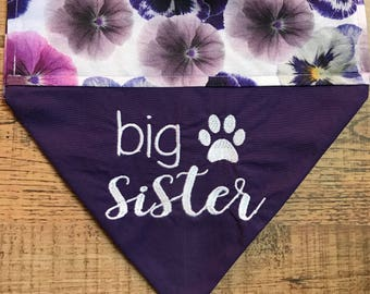 Reversible Purple Big Sister Dog bandana/Over the collar bandana/Puppy bandana/ Pregnancy announcement/slip over collar/Big sister bandana