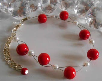 Wedding bracelet twist of passion red and white beads