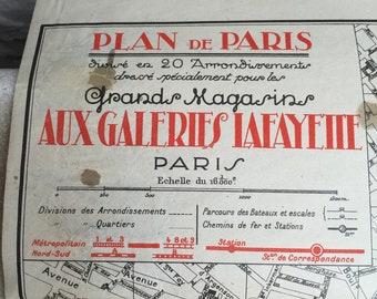 1925 Paris metro map Galleries Lafayette