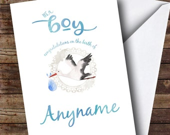 Personalised Stork Baby Boy New Baby Card