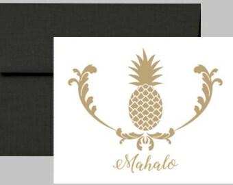 Gold Pineapple Mahalo Card