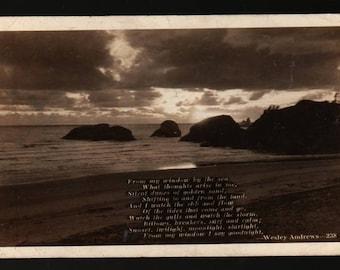 Wesley Andrews Poem with Beach Scene + 1940 + Vintage Photo Postcard