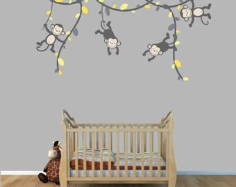 Monkeys on Vine Wall Decals, Monkey Decals, Nursery Wall Art, Childrens Wall Art (Gray Yellow) (V91,MB91,MF89,86,55,76) MVD