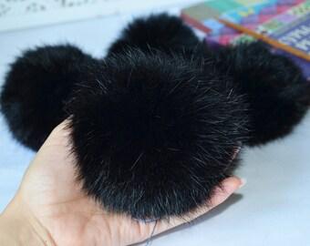 Black Fur Pom Pom, Rabbit Pompom, Black Furry Ball, Real Fur Pom Pom