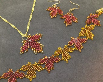 Autumn Leaf Beaded Suite