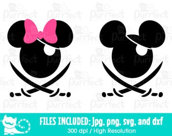 Mickey and Minnie Pirates SVG, Disney Halloween Mouse Pirates SVG, Disney Digital Cut Files in svg, dxf, png and jpg, Printable Clipart