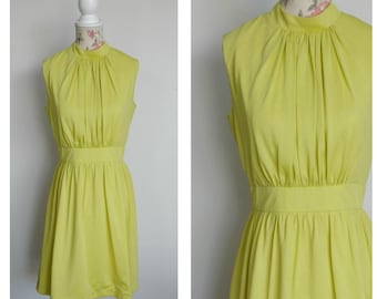 vintage late 1960s lime green day dress