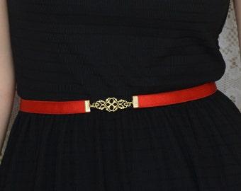 Red Belt - Filigree Buckle in Silver or Gold - Vintage inspired belt - Skinny Belt - Elastic Waist Belt - Bridesmaids belt - Dress Belt