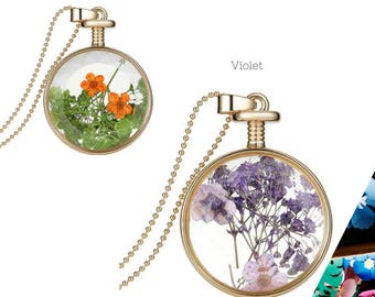 Beautiful Dry Flower Necklace with Chain