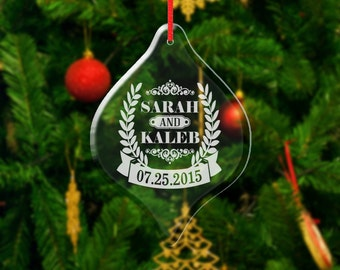 Glass Christmas Ornament Personalized Couple First Christmas Ornaments Him Her Couple Gift Love Engraved Names Date Wedding Anniverasry Date