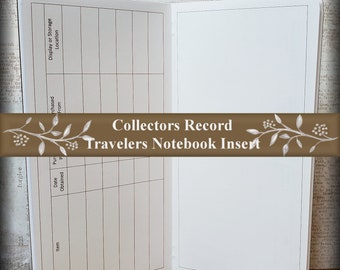 Travelers Notebook Insert: Collector's Record. Keep Track of Your Collections. 40 Cover Color Choices, 11 Travelers Notebook Insert Sizes.