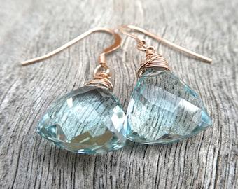 Trillion Blue Topaz Rose Goldfilled Drop Dangle Earrings