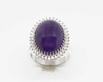 Cabochon shape Natural Amethyst Sterling Silver Ring, February Birthstone