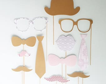Set of 12 photobooth accessories for wedding-kraft-country chic