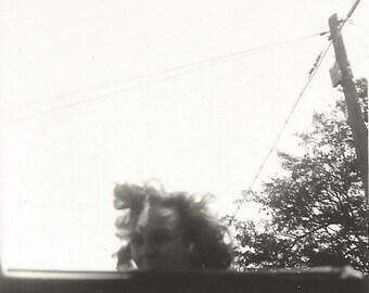 "Vintage Snapshot ""Convertible Hair"" Windblown Hair Abstract Found Vernacular Photo"