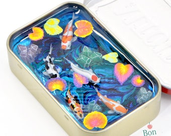 One of a Kind Miniature Koi Pond with Crystals Inside an Altoids Tin, Resin Art Sculpture, Polymer Clay Koi Fish