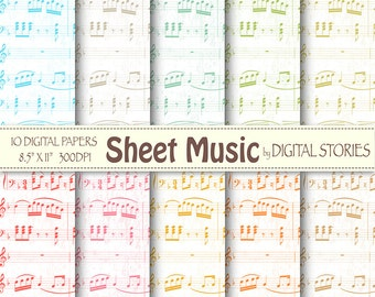 """Music digital paper: """"SHEET MUSIC"""" Music digital papers in pastel colors for scrapbooking, invites, cards, background"""